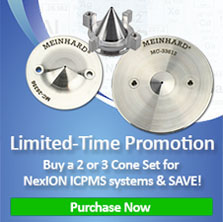 Limited Time Promotion when a 2 or 3 cone set is purchased for NexION icPMS Systems